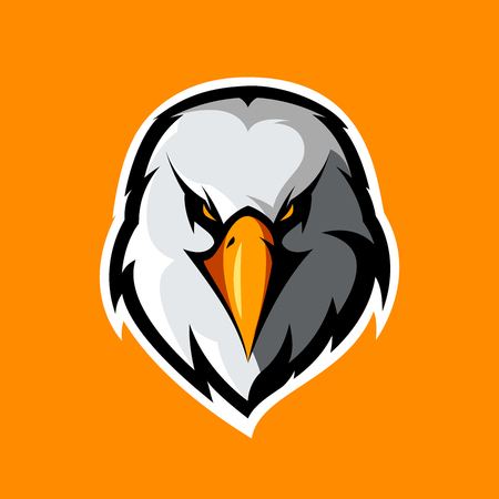 paintball: Furious eagle head athletic club vector logo concept isolated on orange background.