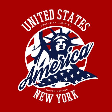 Liberty Statue-Vektor-Logokonzept lokalisiert auf rotem Hintergrund. Sportweinlese-Ausweisentwurf der USA-Straßenabnutzung überlegener. Erstklassige Qualität Emblem-T-Shirt T-Stück Druckillustration der Vereinigten Staaten von Amerika. Standard-Bild - 85238360