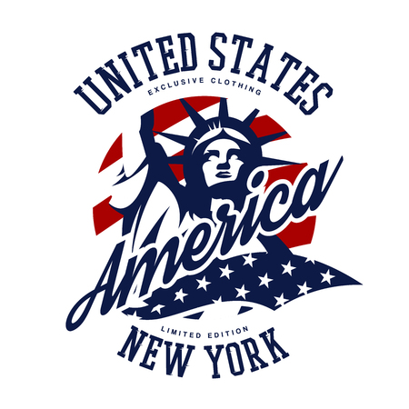 Liberty Statue vector logo concept isolated on white background. USA street wear superior sport vintage badge design. Premium quality United States of America emblem t-shirt tee print illustration.