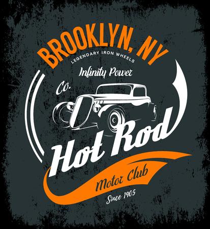 Vintage hot rod vector logo concept geïsoleerd op donkere achtergrond.