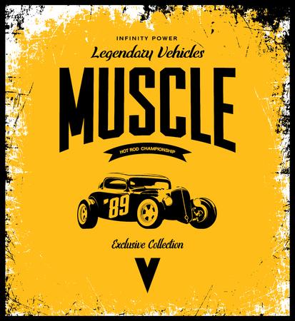 ビンテージ カスタム ホットロッド t シャツ ロゴが黄色の背景上に孤立します。プレミアム品質古いスポーツ車ロゴ t シャツ エンブレム イラスト。