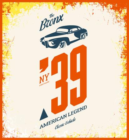 Vintage vehicle vector illustration. Premium quality old sport car logotype t-shirt emblem illustration. Bronx, New York street wear superior retro tee print design. Illustration