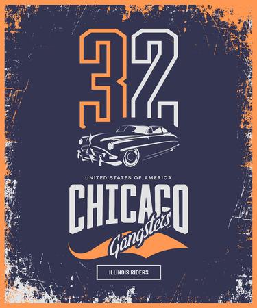Vintage gangster vehicle vector logo isolated on dark background. Premium quality classic car logotype tee-shirt emblem illustration. Chicago, Illinois street wear superior retro tee print design. Logo