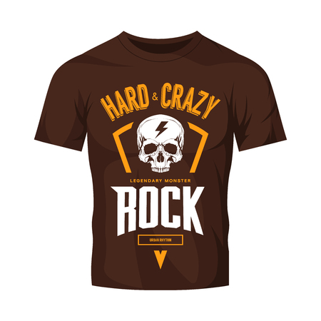 Vintage hard and crazy rock vector logo isolated on dark t-shirt mock up.