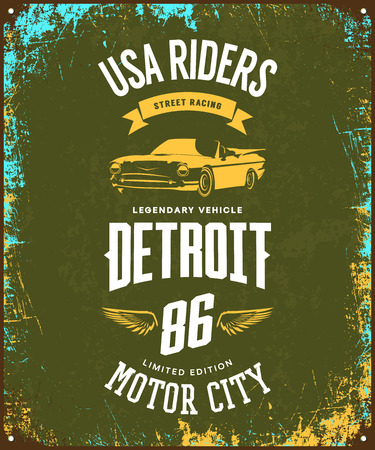 Vintage cabriolet vehicle t-shirt vector logo on dark background