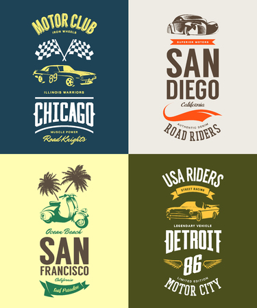 Vintage muscle car, moped, cabriolet and classic vehicle vector t-shirt logo isolated set. Premium quality scooter logotype tee-shirt emblem illustration. USA riders street wear retro tee print design.