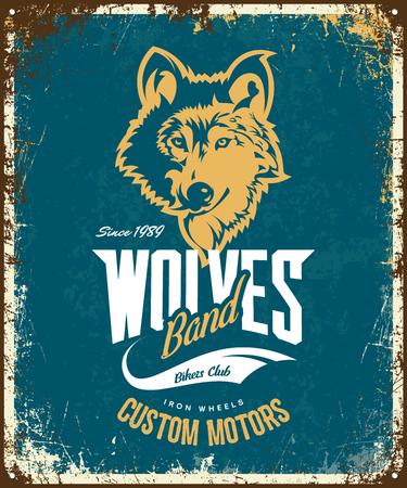Vintage wolf custom motors club t-shirt vector logo on blue background. Premium quality bikers band logotype tee-shirt emblem illustration. Wild animal mascot street wear retro tee print design. Illustration