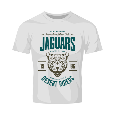 Vintage furious jaguar custom moto club logo on white t-shirt mock-up. Premium quality bikers band logotype tee-shirt emblem illustration. Wild animal streetwear retro tee print design. Logo
