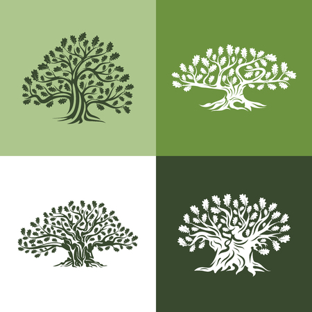 Huge and sacred oak tree silhouette logo isolated on background. Modern vector national tradition green plant icon sign design set. Premium quality organic logotype flat emblem illustration.