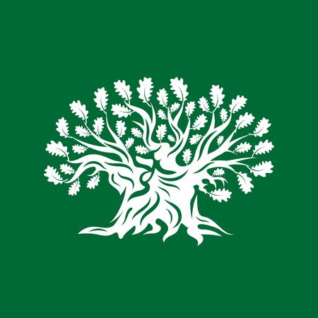 Huge and sacred oak tree silhouette logo badge isolated on green background. Modern vector national tradition. Premium quality organic logotype flat emblem illustration.