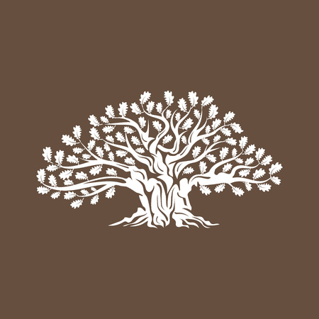 Huge and sacred oak tree silhouette logo badge isolated on brown background.