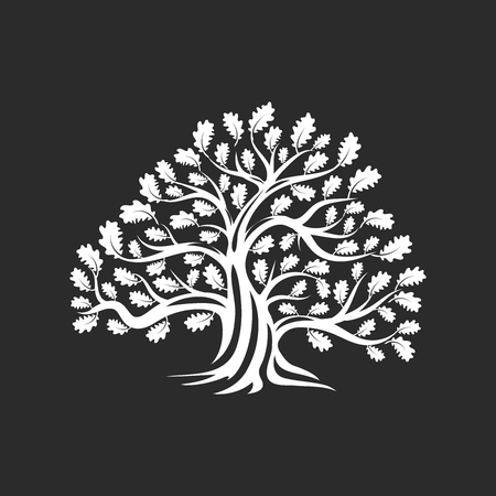 Huge and sacred oak tree silhouette logo badge isolated on dark background. Modern vector national tradition. Premium quality organic logotype flat emblem illustration.
