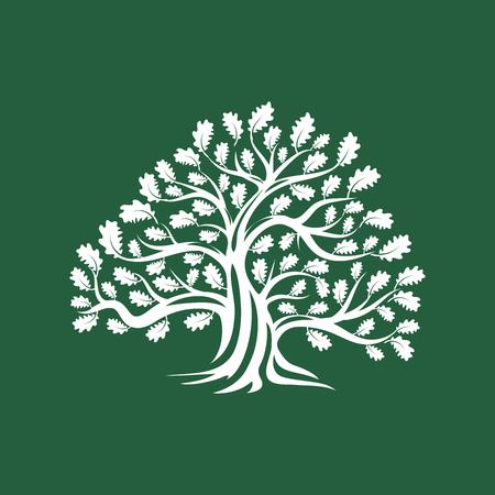 巨大な神聖な樫の木のシルエット ロゴバッジの茶色の背景に分離されました。現代ベクトル国民の伝統。プレミアム品質有機ロゴタイプ フラット