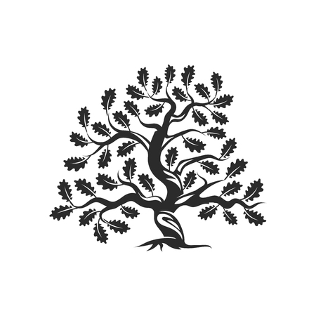 Huge and sacred oak tree silhouette logo badge isolated on white background.