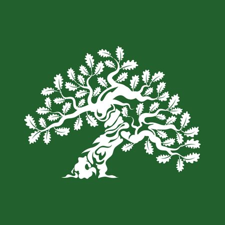Huge and sacred oak tree silhouette logo badge isolated on green background