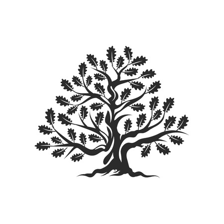 Huge and sacred oak tree silhouette logo badge isolated on white background. Modern vector national tradition. Premium quality organic bonsai logotype flat illustration.