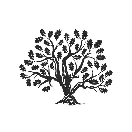 Huge and sacred oak tree silhouette logo badge isolated on white background. Modern vector national tradition. Premium quality organic bonsai logotype flat illustration.