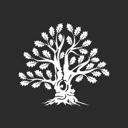 Huge and sacred oak tree silhouette logo badge isolated on dark background.