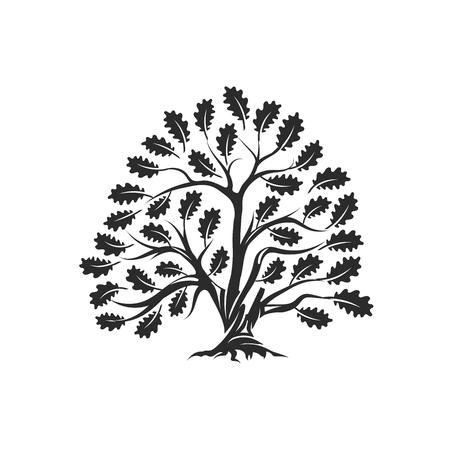 Huge and sacred oak tree silhouette logo badge isolated on white background 일러스트