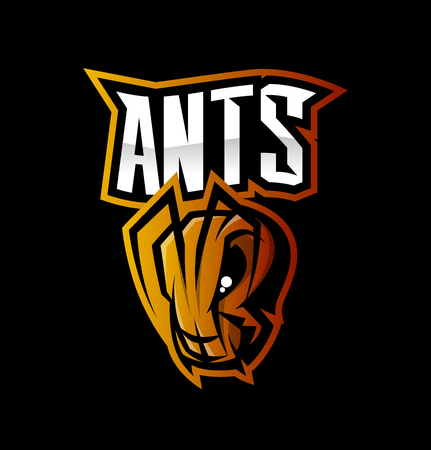 Furious ant sport vector icon concept isolated on black background. Çizim