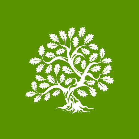 Enorme en heilige eik silhouet silhouet pictogram badge geïsoleerd op groene achtergrond.
