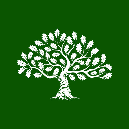 Huge and sacred oak tree silhouette icon badge isolated on green background. Stock Illustratie