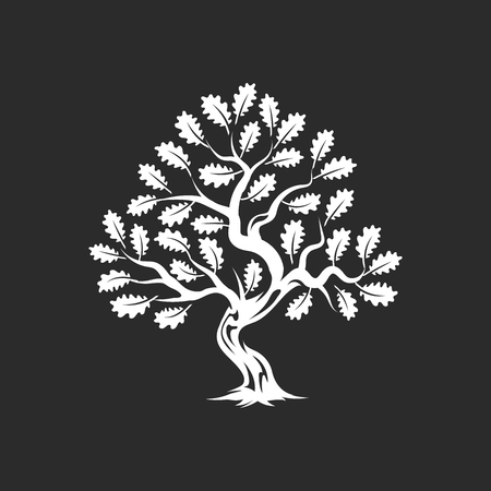 Huge and sacred oak tree silhouette badge isolated on dark backdrop.