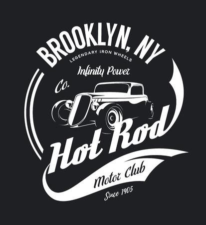 Vintage hot rod, geïsoleerd op een witte achtergrond.