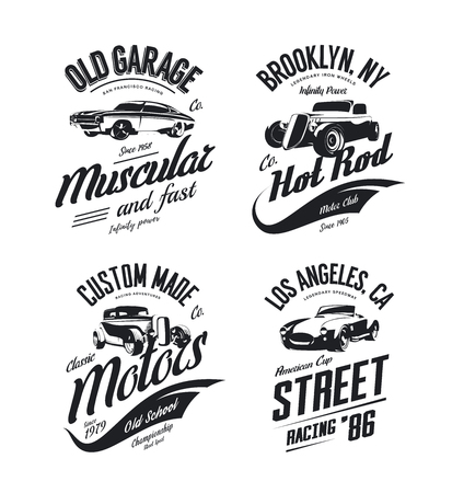 Vintage roadster, custom hot rod and muscle car isolated set.