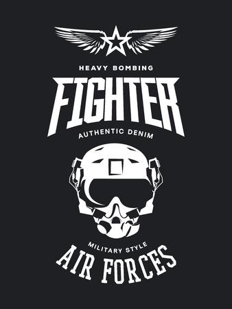 Vintage fighter pilot helmet vector logo isolated on dark background.