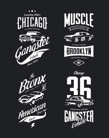 Vintage classic gangster, muscle car vector tee-shirt logo isolated set.