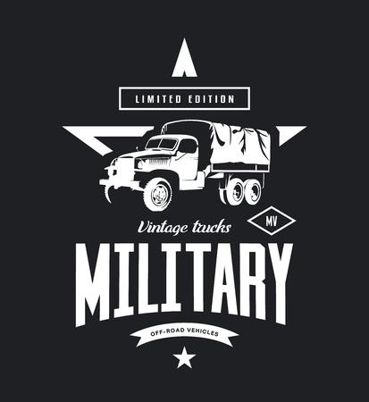 Vintage military truck vector logo isolated on dark background. Illusztráció