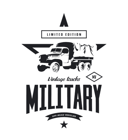 Vintage military truck vector isolated on white background.