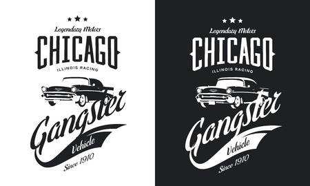 Vintage gangster vehicle black and white isolated illustration, Chicago, Illinois street wear hipster retro tee print design. Vectores