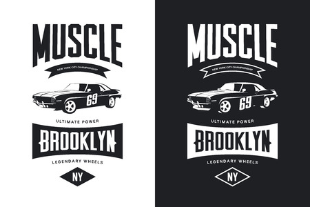 Vintage muscle car black and white isolated vector t-shirt Illustration, Brooklyn, New York street wear hipster retro tee print design. Vectores