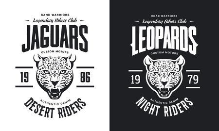 Vintage furious leopard custom motors club t-shirt black and white isolated vector illustration, Wild animal street wear retro tee print design.