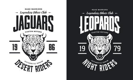 Vintage furious leopard custom motors club t-shirt black and white isolated vector illustration, Wild animal street wear retro tee print design.