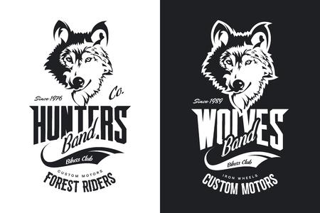 Black and white motor bike t-shirt with custom wolves design.  イラスト・ベクター素材