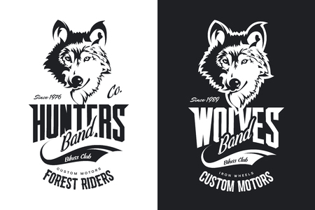 Black and white motor bike t-shirt with custom wolves design. 向量圖像