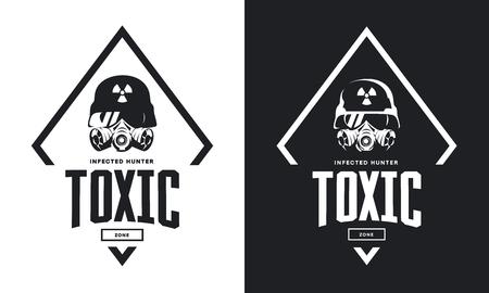 Camiseta de moto en blanco y negro con piloto personalizado en diseño de casco y máscara de gas. Ilustración de vector