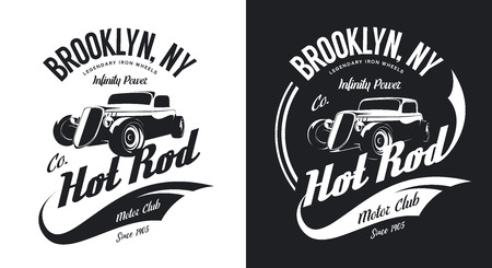 Black and white motor bike t-shirt with custom vintage hot rod and old sport car design.