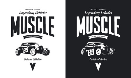 Vintage custom hot rod black and white tee-shirt isolated vector Illustration. Illustration