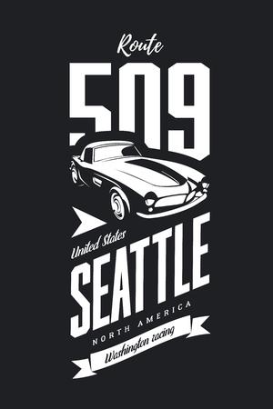 Vintage sport vehicle vector logo isolated on dark background. Premium quality classic car logotype tee-shirt emblem illustration. Seattle, Washington street wear superior retro tee print design.