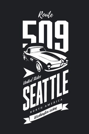 Vintage sport vehicle vector logo isolated on dark background. Premium quality classic car logotype tee-shirt emblem illustration. Seattle, Washington street wear superior retro tee print design.