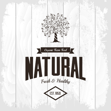 Organic natural and healthy farm fresh food retro emblem. Illustration
