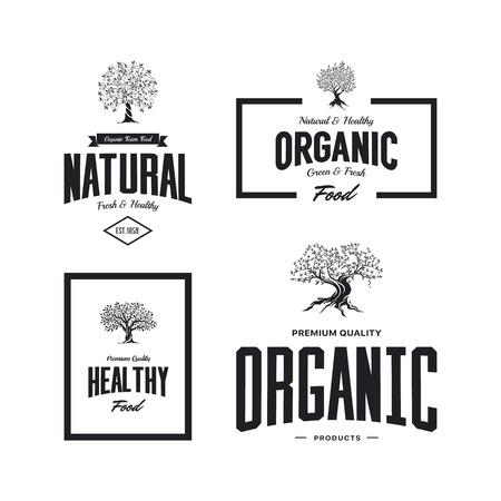 Organic natural and healthy farm fresh food retro emblem set. Illustration