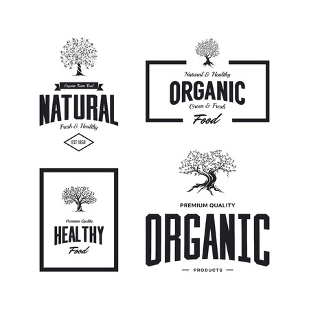 Organic natural and healthy farm fresh food retro emblem set. Ilustração