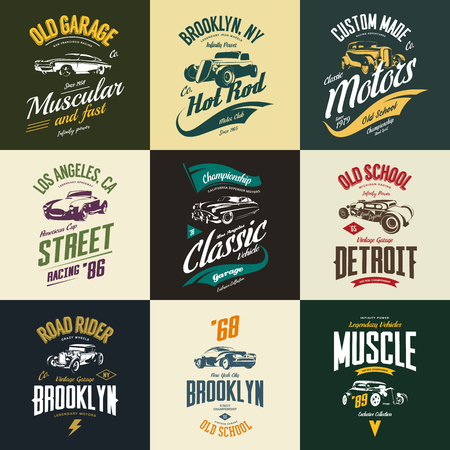 Vintage muscle, roadster, hot rod and classic car vector t-shirt logo isolated set. Premium quality auto logotype tee-shirt emblem illustration. Vehicle street wear retro hipster tee print design. Vettoriali