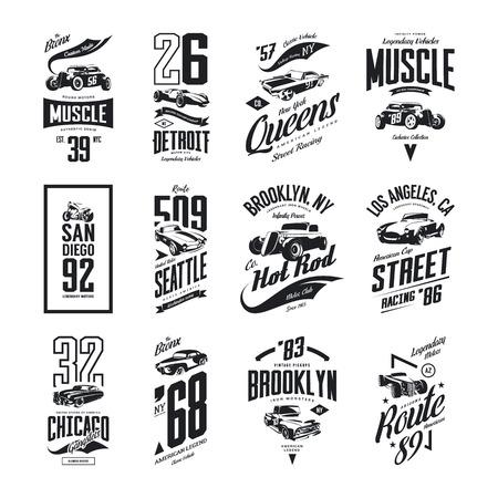 ヴィンテージ筋肉、ロードスター、ホットロッドと古典的な車のベクトルTシャツのロゴ分離セット。プレミアム品質のピックアップトラックティー