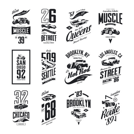 Vintage muscle, roadster, hot rod and classic car vector t-shirt logo isolated set. Premium quality pickup truck tee-shirt emblem illustration. Vehicle street wear motorcycle hipster tee print design. Illusztráció